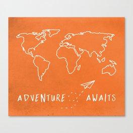 Adventure Map - Retro Orange Canvas Print