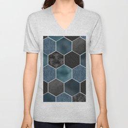 Midnight marble hexagons Unisex V-Neck