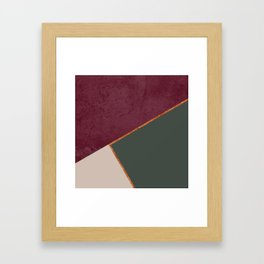 Burgundy Olive Green Gold and Nude Geometric Pattern #society6 #buyart Framed Art Print