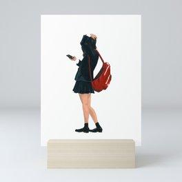Tiring schoolgirl Mini Art Print