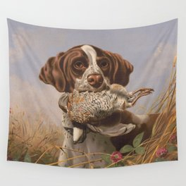Vintage English Pointer Hunting Quail Painting (1869) Wall Tapestry