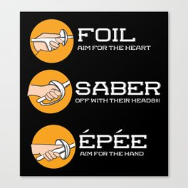 Foil Saber Epee | Fencing Canvas Print