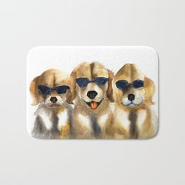 Yellow dogs  in funny glasses Bath Mat