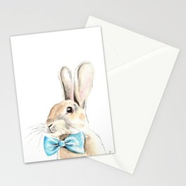 Bunny with a Blue Bow Tie. Watercolor Illustration. Stationery Cards