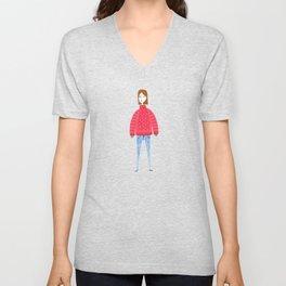 Girl in comfy clothes Unisex V-Neck