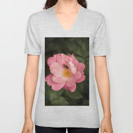 A rose and the fly insect Unisex V-Neck