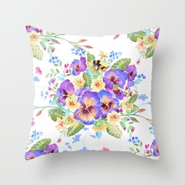 Pansy Chintz Throw Pillow