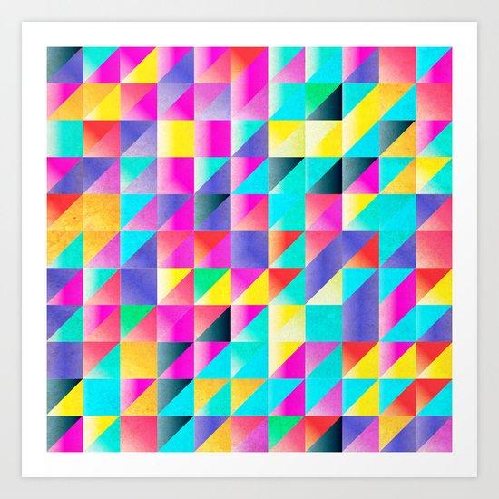 Geometric Neon  Art Print