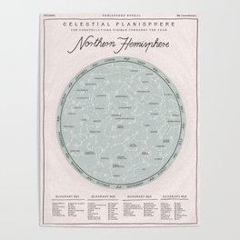Northern Hemisphere Constellations Map Poster