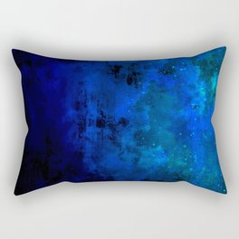 SECOND STAR TO THE RIGHT Rich Indigo Navy Blue Starry Night Sky Galaxy Clouds Fantasy Abstract Art Rectangular Pillow