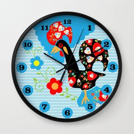 Portuguese Rooster of Luck with blue dots Wall Clock
