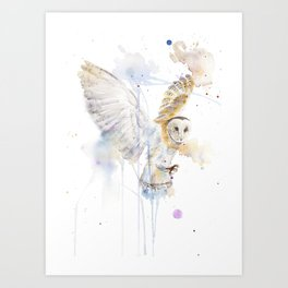 """Watercolor Painting of Picture """"White Owl"""" Art Print"""