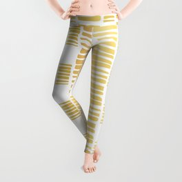 Luxe Gold Stripes Confetti Hand Drawn Vector Pattern Background Leggings