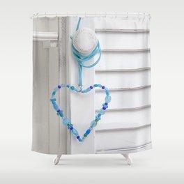 Blue Heart of beads Shower Curtain