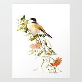 Chickadee Asian Style Bird and Flowers Zen brush painting Art Print