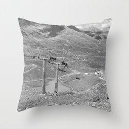 chairlift repair kaunertal alps tyrol austria europe black white Throw Pillow