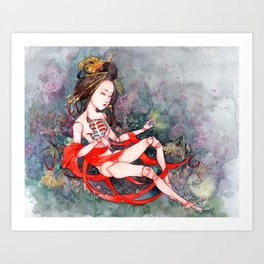 Oriental Beauty: Goddess of Nature Art Print