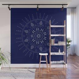 Vector White Mandala on Navy Wall Mural