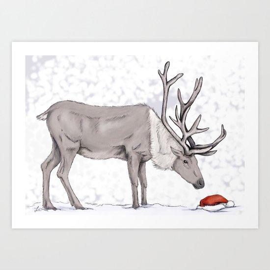 Christmas reindeer Art Print