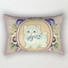 Kitschy Blue Kitten Rectangular Pillow