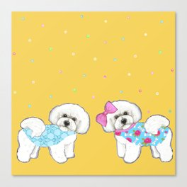 Bichon Frise Holidays yellow cute dogs, Christmas gift, holiday gift, birthday gift, dog, Bijon Canvas Print