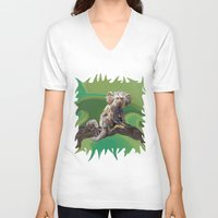 psychadelic V-neck T-shirts featuring Melanie's Marmoset by Distortion Art