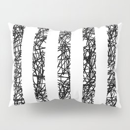 Scribble Bars - Abstract, stripy, stripey, black ink scribbles pattern, black and white Pillow Sham