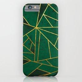 Emerald Green Geometric Gold Lines iPhone Case