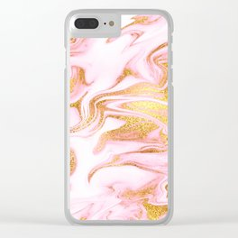 Rose Gold Marble Agate Geode Clear iPhone Case