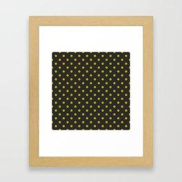Black and Gold Polka Dots Framed Art Print