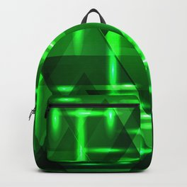 Ultramarine green intersections on a bright metal background. Backpack