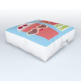 Hello Summer Kawaii cherry smoothie Outdoor Floor Cushion