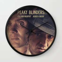Peaky Blinders poster, Cillian Murphy is Thomas Shelby, Adrien Brody is Luca Changretta Wall Clock