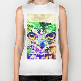 Owl Watercolor Grunge Biker Tank