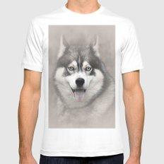 Siberian Husky 2 MEDIUM Mens Fitted Tee White