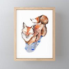 Smiling Red Fox in Blue Socks Framed Mini Art Print