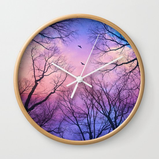 A New Day Will Dawn  (Day Tree Silhouettes) Wall Clock