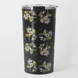 Butterflies and Camellias on Black Travel Mug