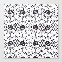 happy hallowen curves and pumkins pattern Canvas Print