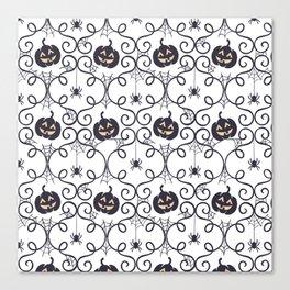 happy hallowen curves and pumkins pattern Canvas Print
