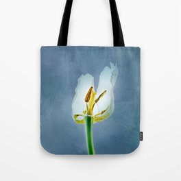 White withering tulip flower Tote Bag