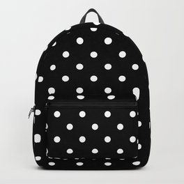 Large White Polkadot on Black Backpack