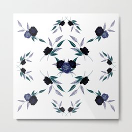 Black and blue peony refexion pattern illustration Metal Print