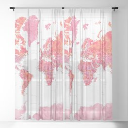Hot pink watercolor world map with cities Sheer Curtain