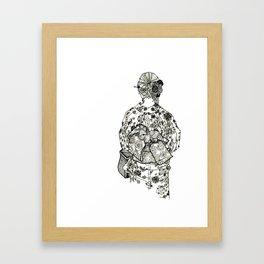 Geometric Black and White Drawing Japanese Yukata Kimono Framed Art Print