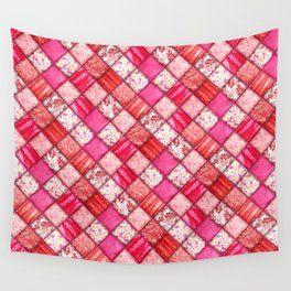 Faux Patchwork Quilting - Pink and Red Wall Tapestry