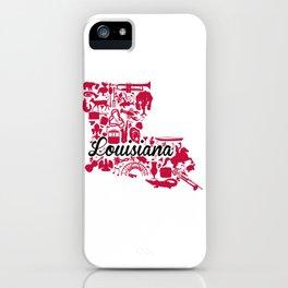 UL Louisiana Landmark State - Black and Red University of Lafayette Theme iPhone Case