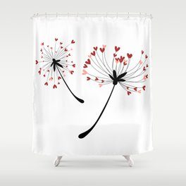 Floating Dandelion Heart Seeds by Cam Fam Creations Shower Curtain