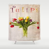 tulips Shower Curtains featuring Tulips by Fine Art by Rina