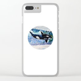 Whale of Freedom Clear iPhone Case